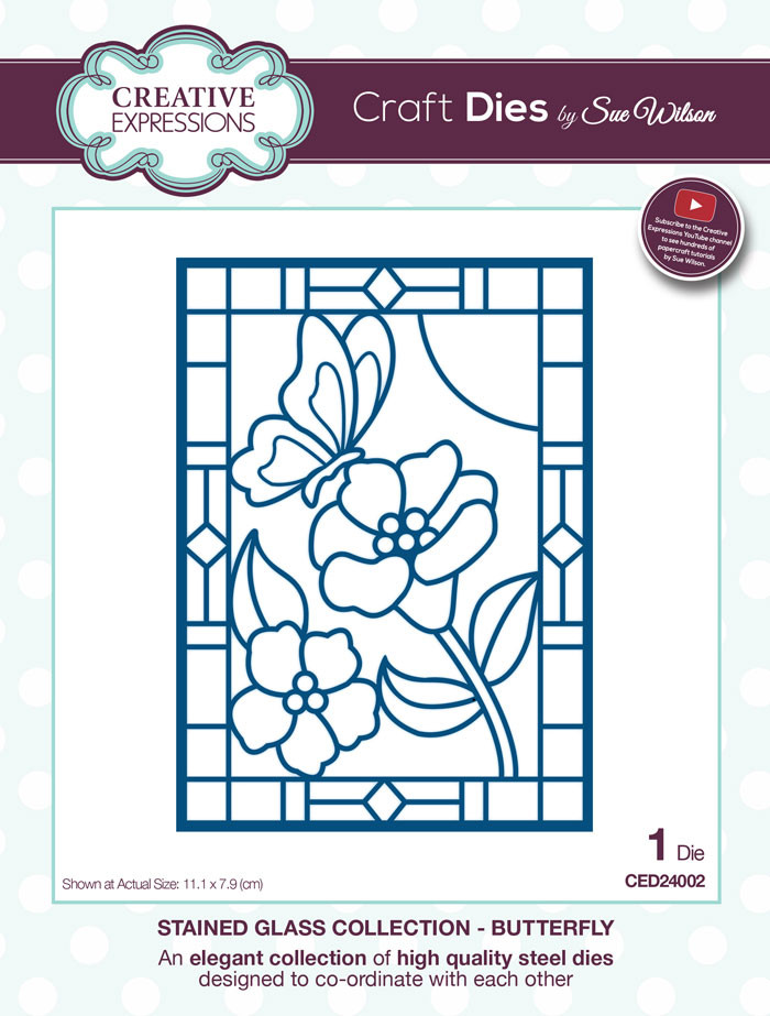 Sue Wilson Stained Glass Collection Dies - Butterfly CED24002