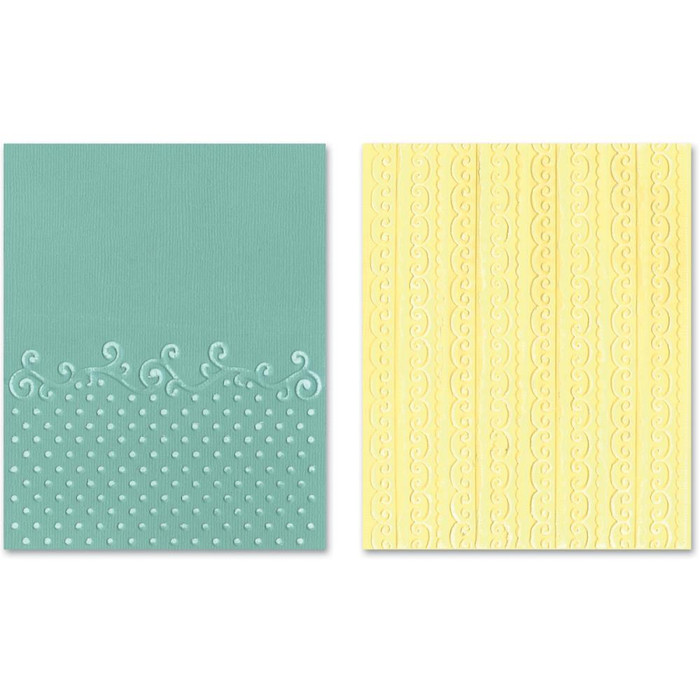 Sizzix Textured Impressions Embossing Folder 2 Pack - FLOURISH DOTS & RIBBON SET