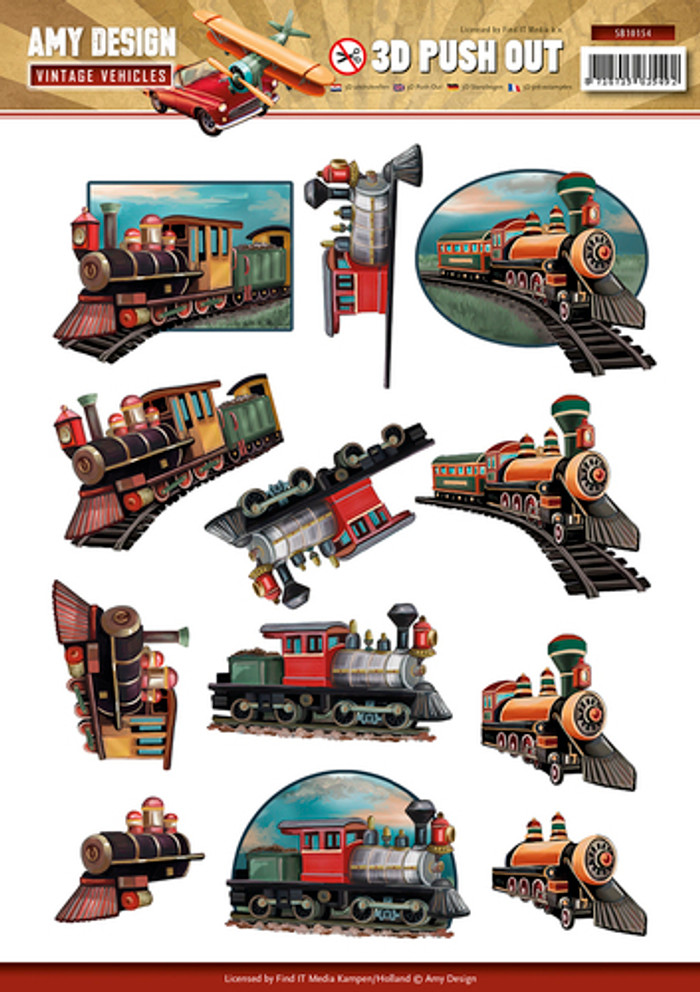3D Die-Cut Sheet  Amy Design Vintage Vehicles Trains  SB10154