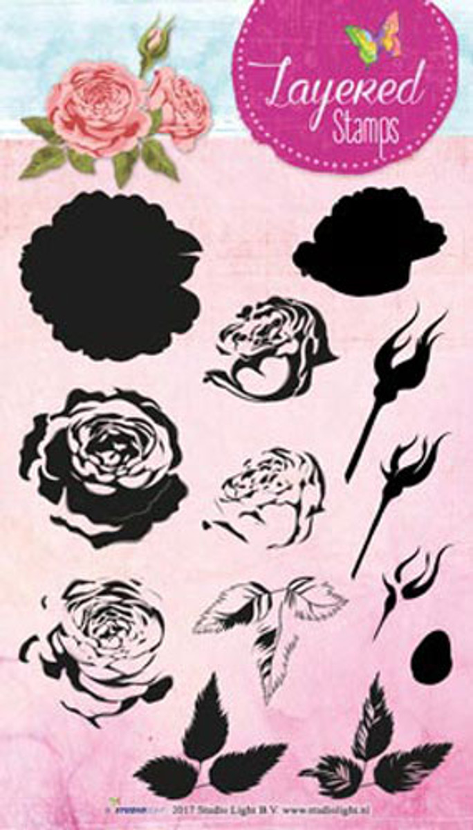 Studio Light Layering Stamp Roses STAMPLS13