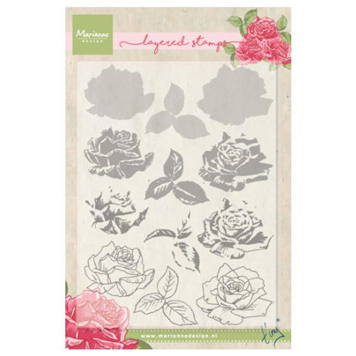 Marianne Design Layering Clear Stamps - Tiny's Rose TC0855