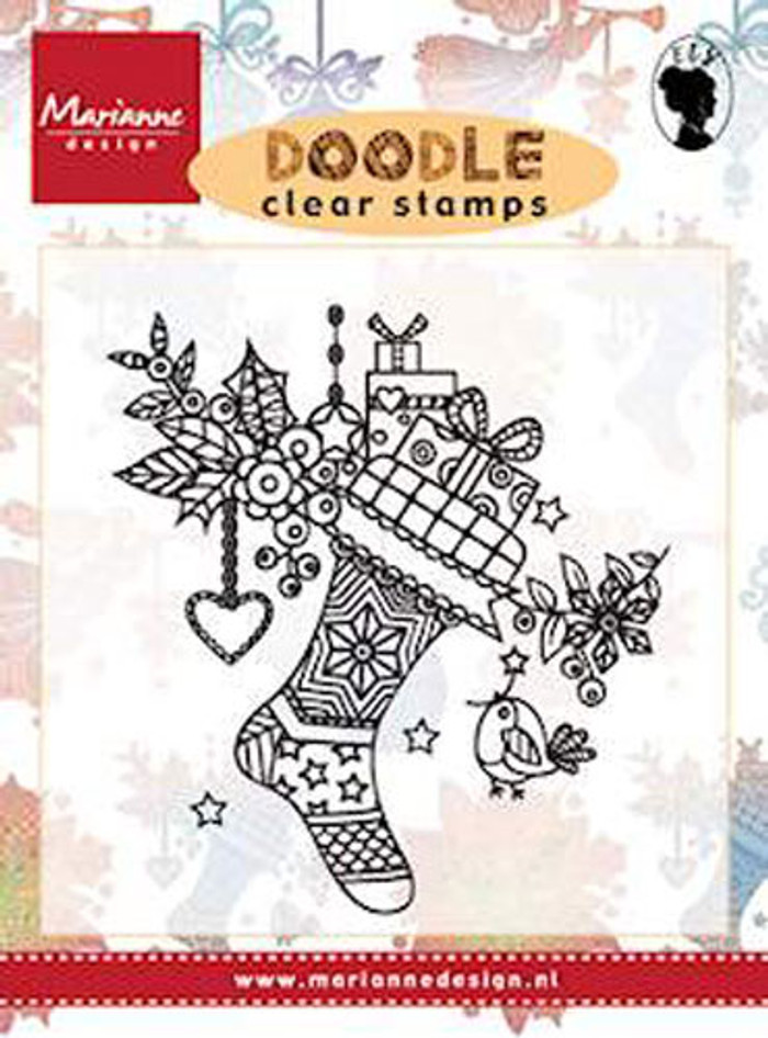 Marianne Design Clear Stamp - Doodle Christmas Stocking EWS2223