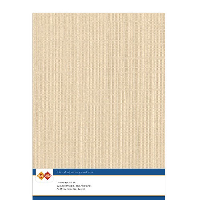A4 Linen Card - LIGHT BROWN 240gsm Pk 10