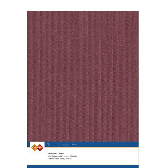 A4 Linen Card - BORDEAUX 240gsm Pk 10