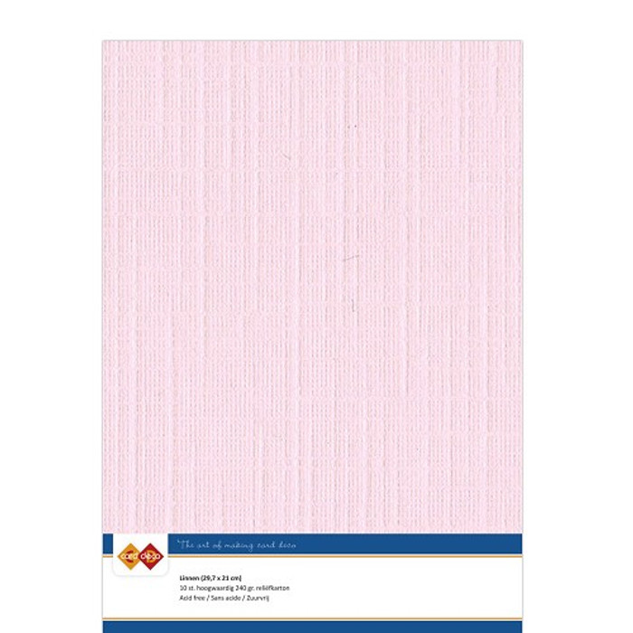 A4 Linen Card - LIGHT PINK 240gsm Pk 10