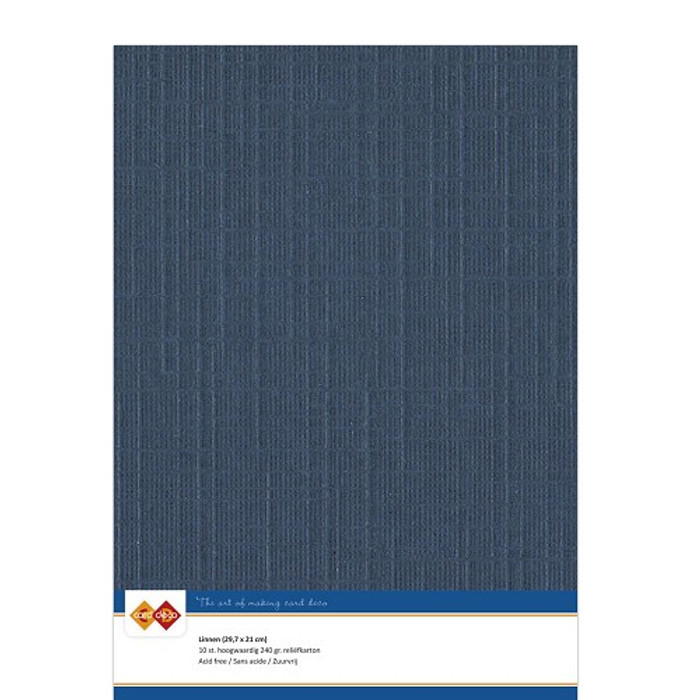 A4 Linen Card - DARK BLUE 240gsm Pk 10