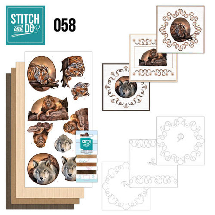 Stitch and Do 58 - Card Embroidery Kit - Wild Animals
