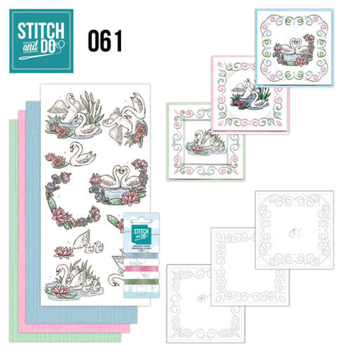 Stitch and Do 61 - Card Embroidery Kit - Swans