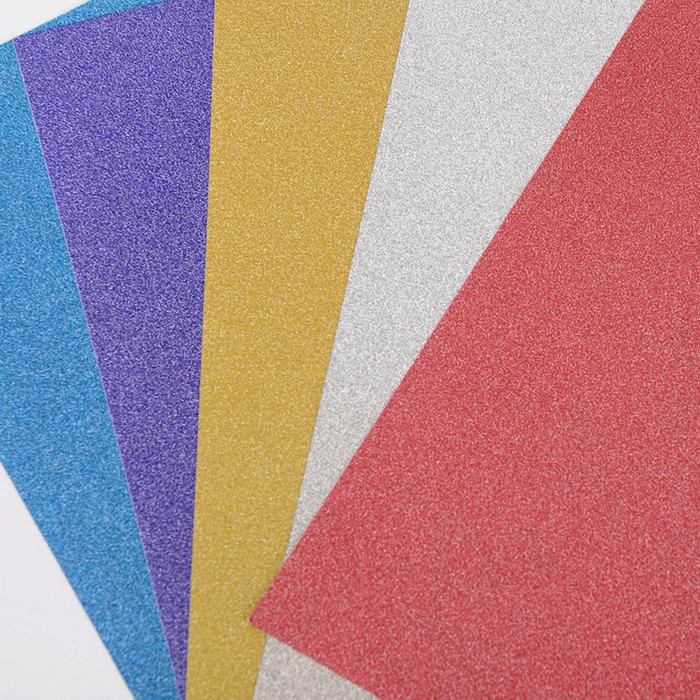 "Glitter Paper Sheets With Adhesive Backing  6""x 9"" - 5 Colours"