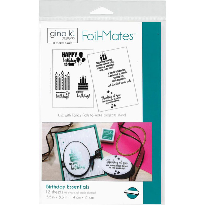 Gina K Designs Foil-Mates Sentiments - Birthday Essentials 10 Pk