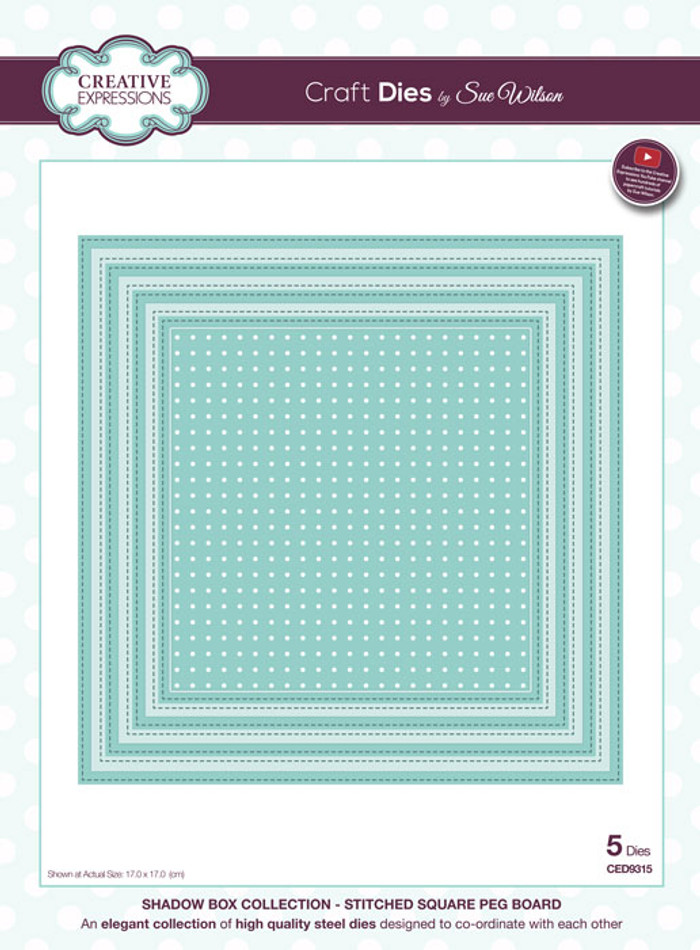 Sue Wilson - Shadow Box Collection -  Stitched Square Peg Board CED9315