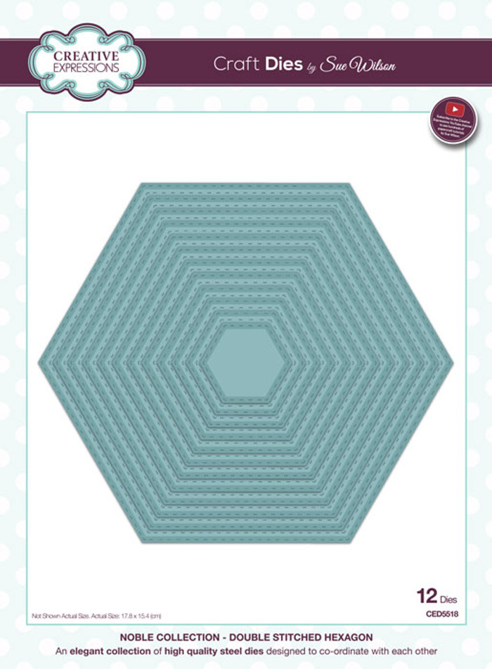 Sue Wilson Noble Collection Dies - Double Stitched Hexagons CED5518