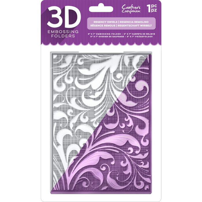 "Crafter's Companion 3D Embossing Folder 5"" x 7"" - Regency Swirls (3DREGSW)"