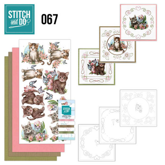 Stitch and Do 67 - Card Embroidery Kit - Cats