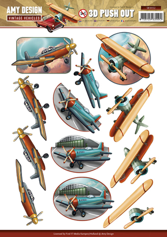 3D Die-Cut Sheet  Amy Design  - Vintage Vehicles Planes  SB10152
