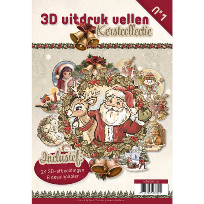3D Die-Cut Book Card Deco #1 - Christmas (3DPO10001NL)