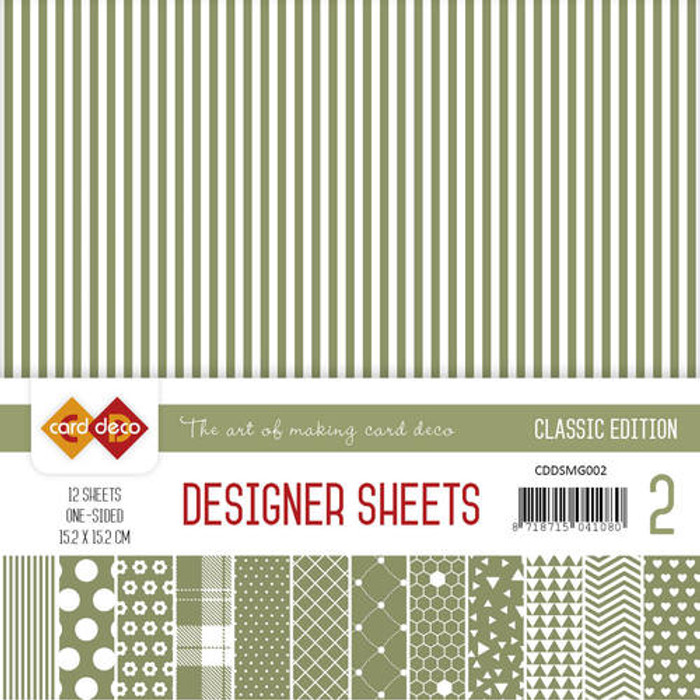 Card Deco Designer Sheets - Classic Edition - Moss Green 15.2cm x 15.2cm - 12 Sheets