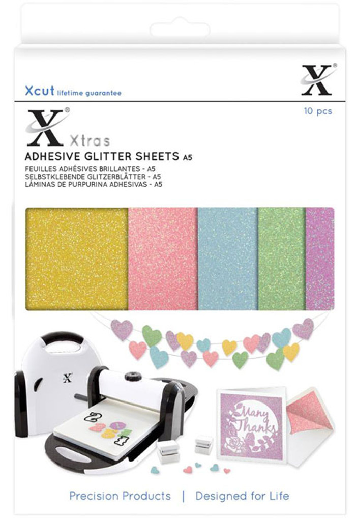 XCut Xtra A5 Coloured Glitter Adhesive Sheets - 10 Sheets