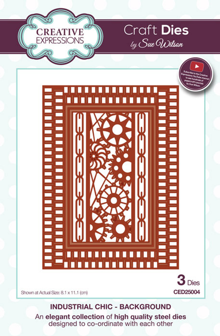 Sue Wilson Industrial Chic Collection Dies - Background CED25003
