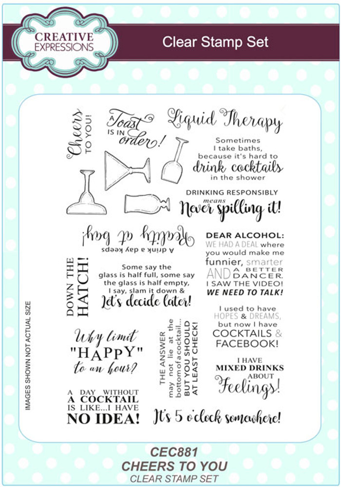 Sue Wilson A5 Clear Stamps Cheers To You CEC881