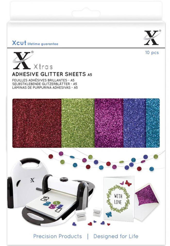 XCut Xtra A5 Coloured Glitter Adhesive Sheets - Darks 10 Sheets