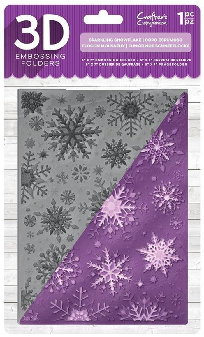 "Crafter's Companion 3D Embossing Folder 5"" x  7""-  Sparkling Snowflake"