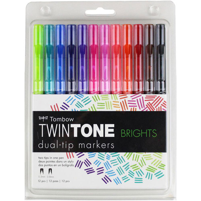 Tombow Twintone Dual Markers - Brights 12 Set