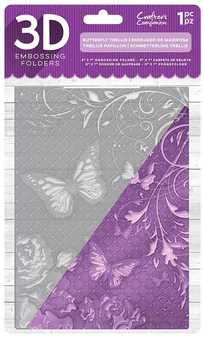 "Crafter's Companion 3D Embossing Folder 5"" x 7""- Butterfly Trellis"