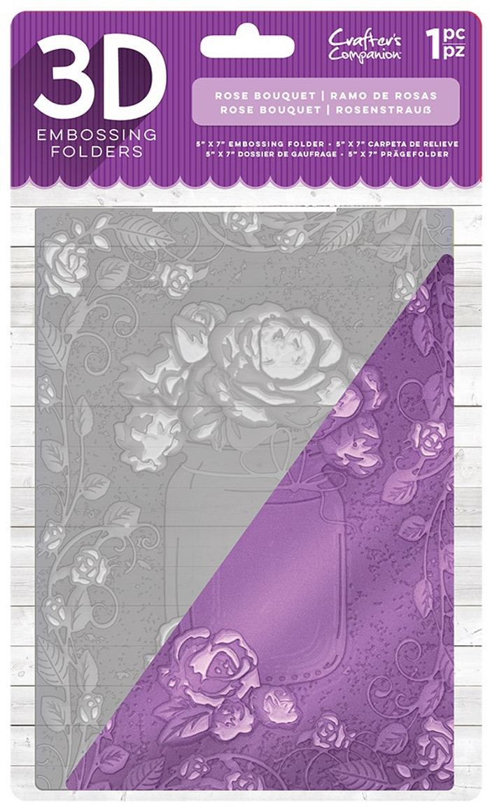 "Crafter's Companion 3D Embossing Folder 5"" x 7""- Rose Bouquet"