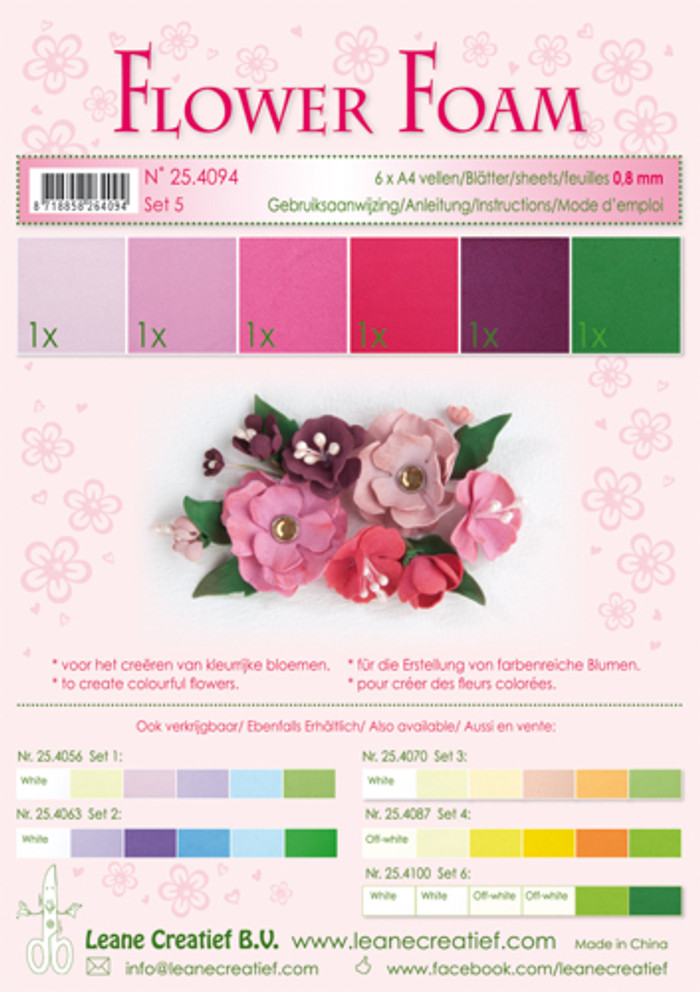 Leanne Creatief  Flower Foam Assortment 5 - Red/Pink 6 Sheets LCR25.4094