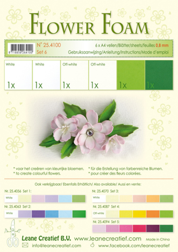 Leanne Creatief  Flower Foam Set 6 - White/Green LCR25.4100