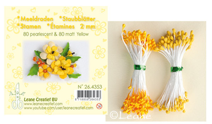 Leanne Creatief  Stamens - 2mm Light Yellow LCR26.4346