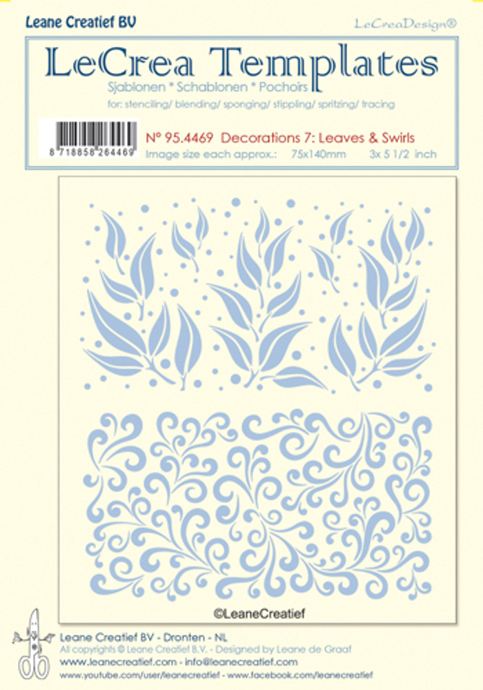 Leanne Creatief  Stencil Decorations 7 - Leaves & Swirls LCR95.4469