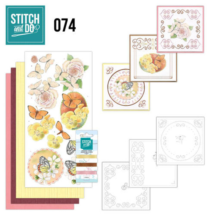 Stitch and Do 74 - Card Embroidery Kit - Butterflies & Flowers STDO074