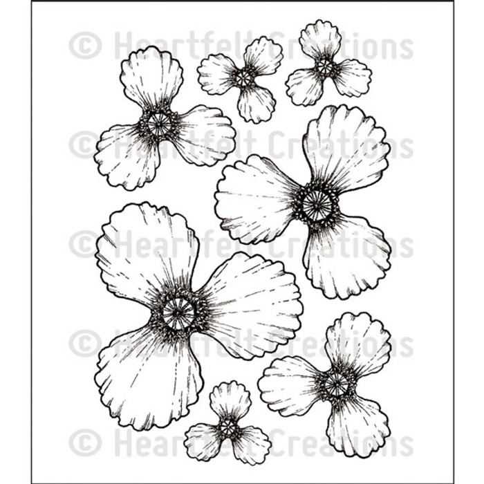 Heartfelt Creations Cling Rubber Stamp Set - Blazing Poppy  HCPC-3674
