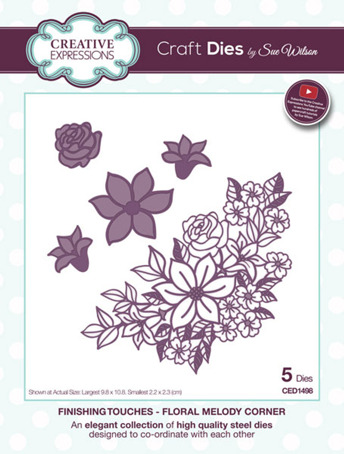 Sue Wilson Finishing Collection Dies - Flower Melody Corner CED1498