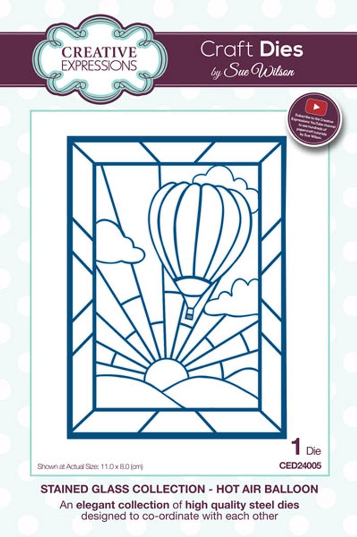 Sue Wilson Stained Glass Collection Dies - Hot Air Balloon CED24005