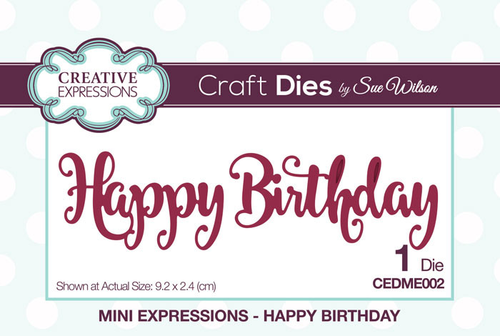 Sue Wilson Mini Expressions Collection Dies - Happy Birthday CEDME002
