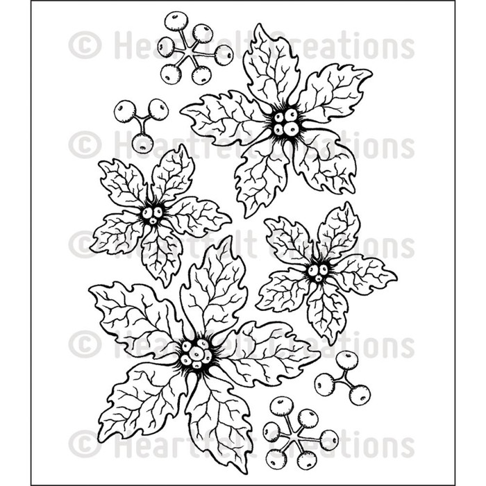 Heartfelt Creations Cling Rubber Stamp Set - Sparkling Poinsettia