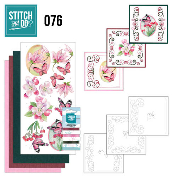 Stitch and Do 76 - Card Embroidery Kit - Pink Flowers