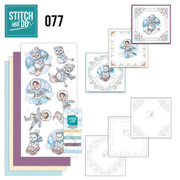 Stitch and Do 77 - Card Embroidery Kit - Winter Fun