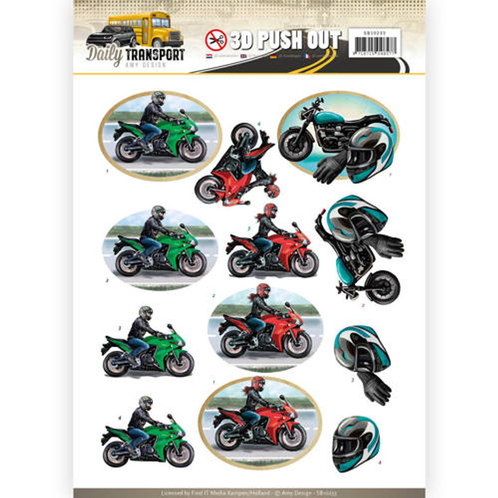3D Die-Cut Sheet  Amy Design  - Motor Cycling  SB10233