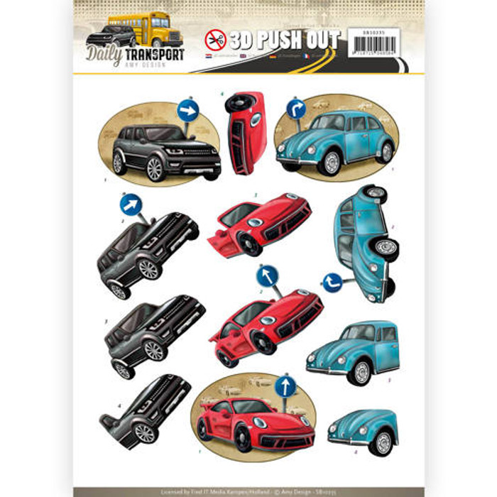 3D Die-Cut Sheet  Amy Design  - Daily Cars  SB10235