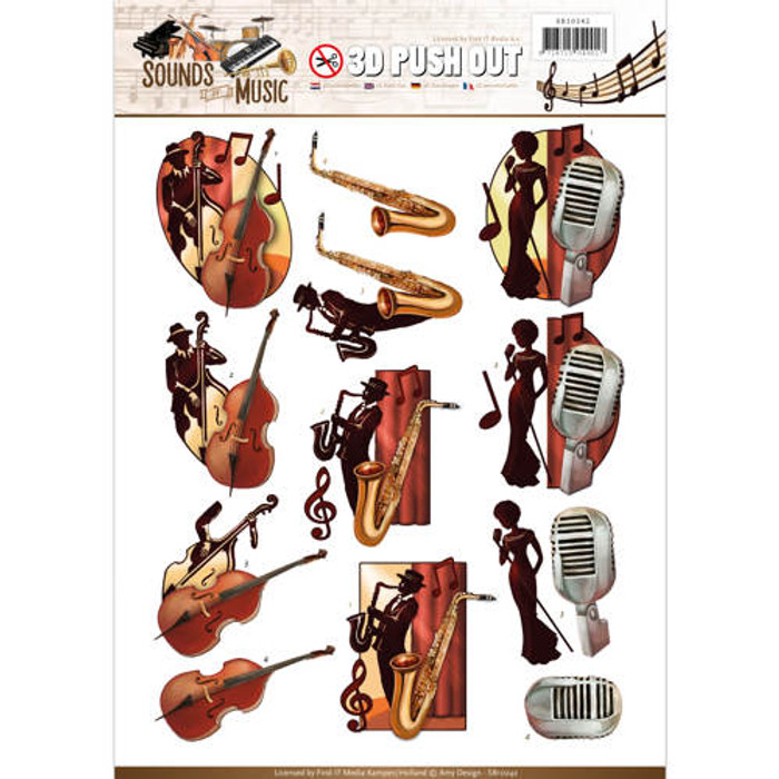 3D Die-Cut Sheet  Amy Design  - Jazz Music SB10242