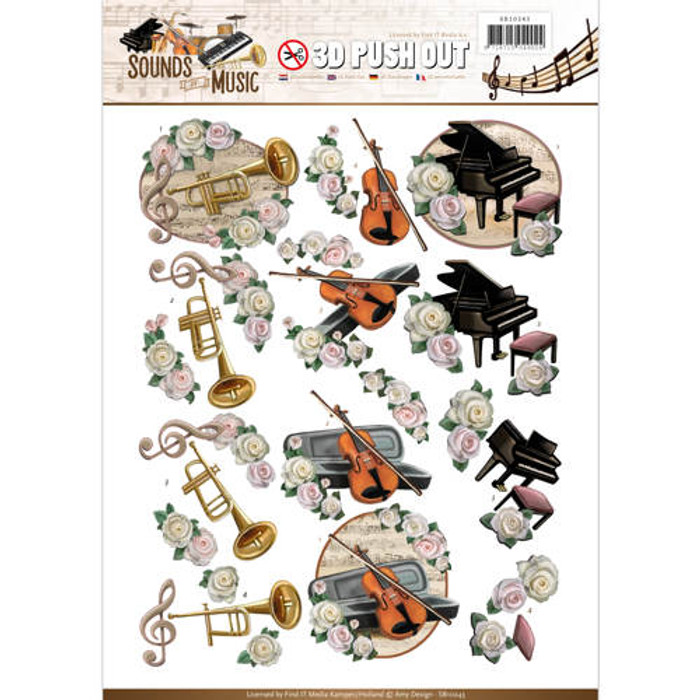 3D Die-Cut Sheet  Amy Design  - Classic Music SB10243