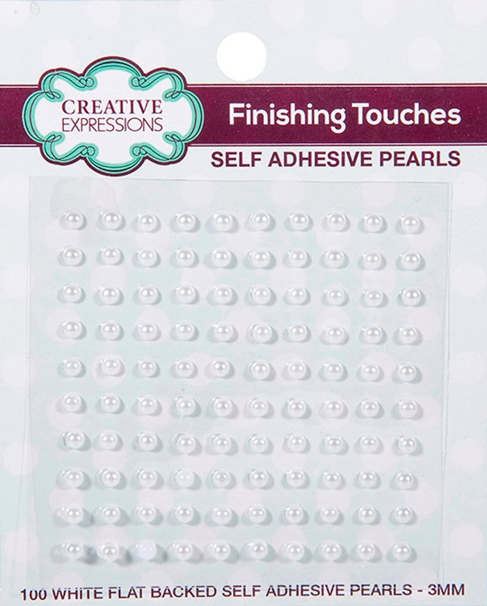 Creative Expressions Self-Adhesive Pearls 3mm - White