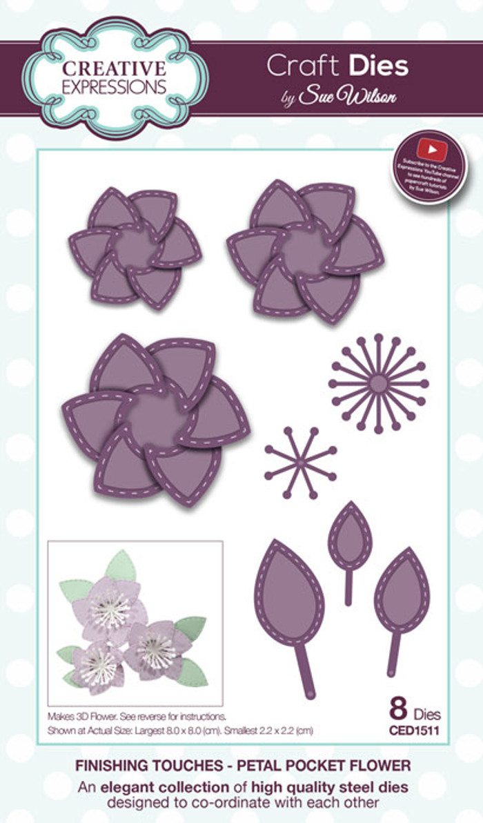 Sue Wilson Finishing Touches Collection Dies - Petal Pocket Flower CED1511