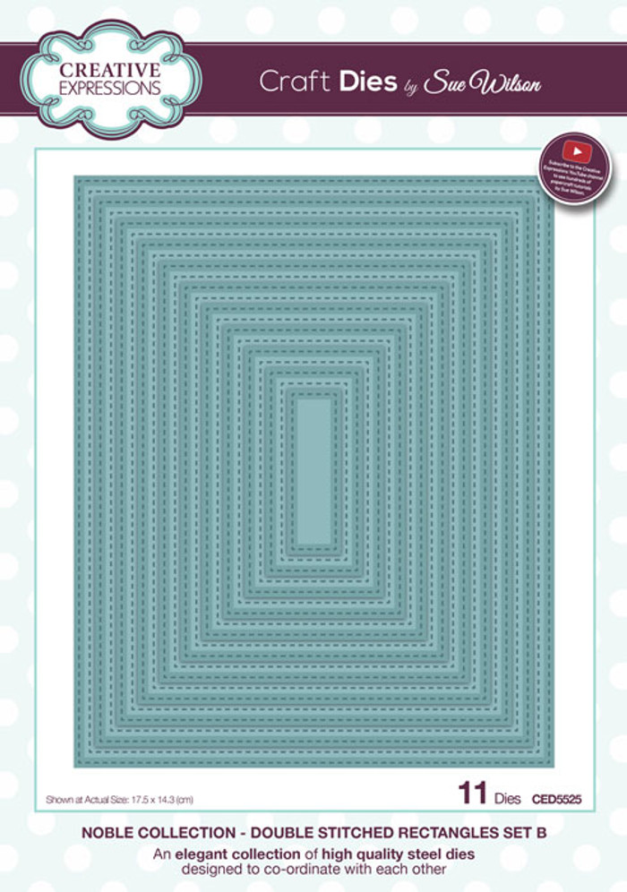 Sue Wilson Noble Collection Dies - Double Stitched Rectangles CED5525