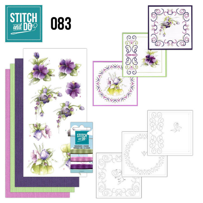 Stitch and Do 83 - Card Embroidery Kit - Purple Flowers