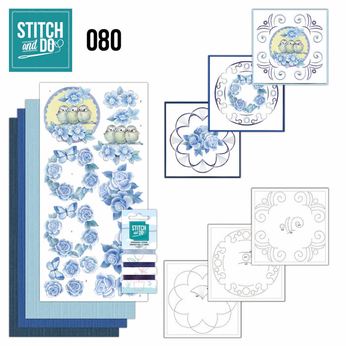 Stitch and Do 80 - Card Embroidery Kit - Vintage Flowers